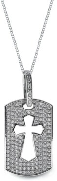 Sutton by Rhona Sutton Sutton Sterling Silver Cross Cutout Cubic Zirconia Dog Tag Pendant Necklace