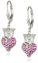"""King Baby Studio Crowned Heart"""" Small 3D Crowned Heart with Pave Pink Cubic Zirconia Leverback Earrings"""