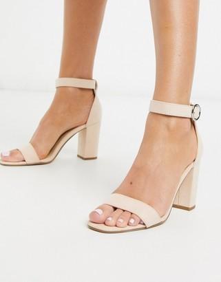 Pimkie block heeled sandals in nude