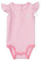 Ralph Lauren Girl Stripe Flutter-Sleeve Bodysuit