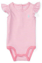 Ralph Lauren Stripe Flutter-Sleeve Bodysuit