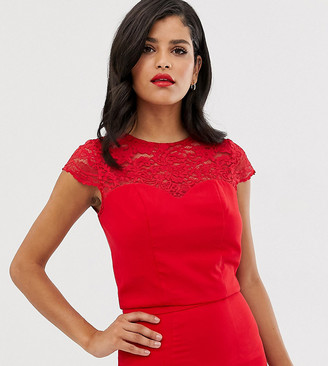 Chi Chi London Tall lace detail shell top co-ord in red