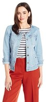 Liverpool Jeans Company Women's Denim Collarless Lightweight Jean Jacket