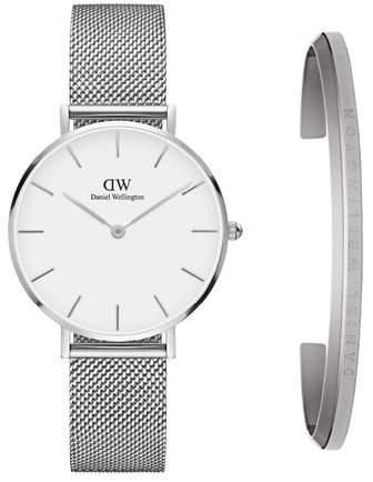 Daniel Wellington Classic Petite Mesh Strap Watch & Cuff Gift Set, 32mm