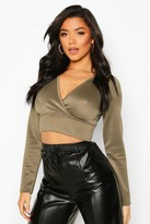 boohoo Scuba Plunge Cross Long Sleeve Crop