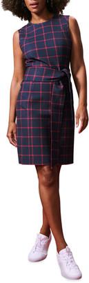 Toccin Windowpane Tie-Front Sheath Dress