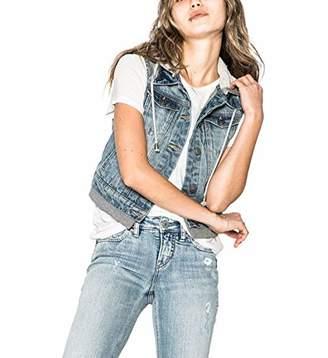 Silver Jeans Co. Women's Saylor Cropped Hooded Denim Vest