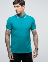 Fred Perry Slim Pique Polo Shirt Twin Tipped In Green