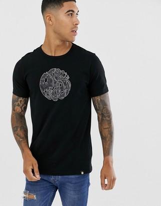 Pretty Green paisley applique logo t-shirt in black