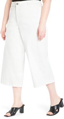 ELOQUII High Waist Crop Wide Leg Jeans