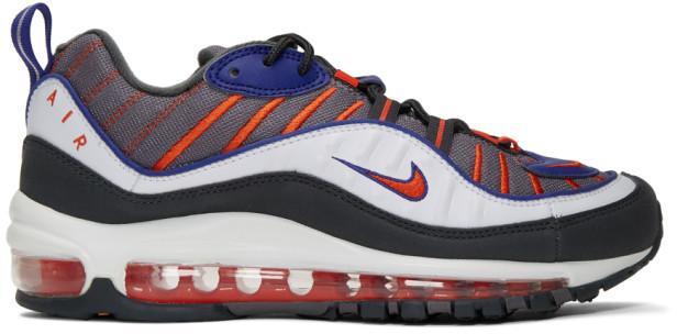 Nike Grey and Orange Air Max 98 Sneakers