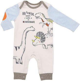 Baby Starters Boys' Rompers White - White & Blue 'Rawr Means I Love You' Raglan Playsuit - Newborn & Infant