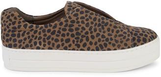 J/Slides Cheetah-Print Suede Sneakers
