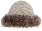 Hockley Elaine Fur-trimmed Cashmere Beanie