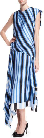 Diane von Furstenberg High-Neck Cap-Sleeve Bias-Cut Striped Satin Maxi Dress