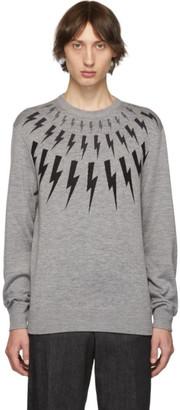 Neil Barrett Grey Multi Lightning Bolt Sweater