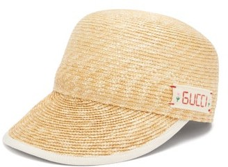 Gucci Logo-embroidered Straw Cap - Ivory