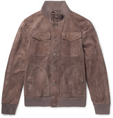 Bottega Veneta Slim-Fit Intrecciato-Trimmed Suede Bomber Jacket