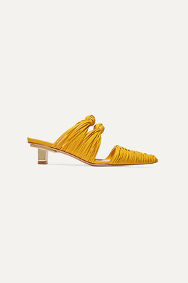 Cult Gaia Paige Knotted Leather Mules - Yellow