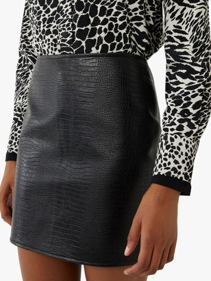 Warehouse Faux Croc Mini Skirt, Black
