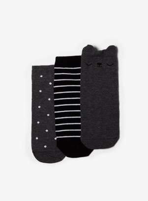 Dorothy Perkins Womens Grey 3 Pack Cat Trainer Socks, Grey