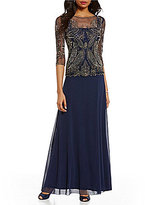 Pisarro Nights Beaded Bodice Mock Two-Piece Gown
