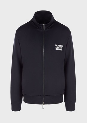 Emporio Armani Lustrous, Cotton Sweatshirt With Full-Length Zip And Milano Patch