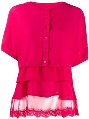 Twin-Set Fine Knit Tiered Cardigan