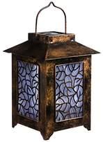 Evergreen 2SP4021 Antiqued Bronze Leaves Hanging Solar Lantern, Bronze, 33x15.24x15.24 cm