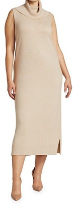 Joan Vass, Plus Size Cowlneck Sleeveless Sweater Dress