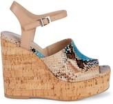 Charles David Dory Snakeskin-Embossed Leather Wedge Sandals