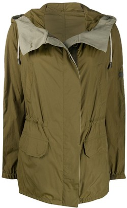 Army by Yves Salomon Colour Block Hooded Rain Coat