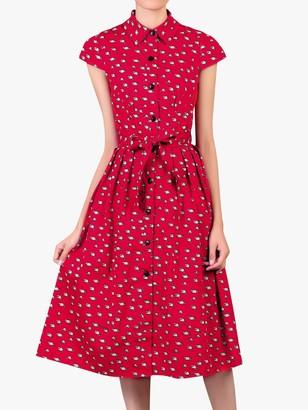 Jolie Moi Raccoon Print Shirt Dress, Red
