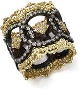 Armenta 18K Yellow Gold and Blackened Sterling Silver Old World Champagne Diamond Scalloped Ring
