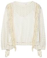 See by Chloe Tasselled Crochet-knit Top