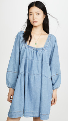 Free People Blue Jean Babydoll Dress