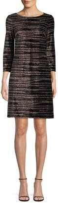Eliza J Three-Quarter-Length Sleeve Metallic Stripe Dress