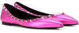 Valentino Rockstud Fuchsia Leather Ballerinas