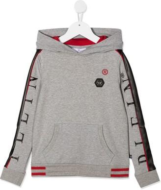 Philipp Plein Junior Side Stripe Logo Hoodie