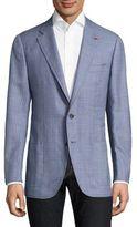 Isaia Checkered Silk Blazer
