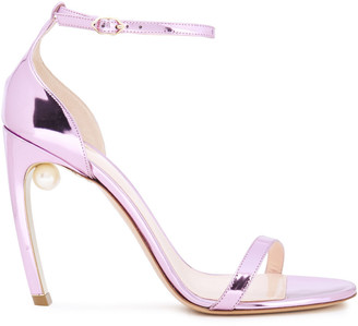 Nicholas Kirkwood Faux Pearl-embellished Faux Mirrored-leather Sandals