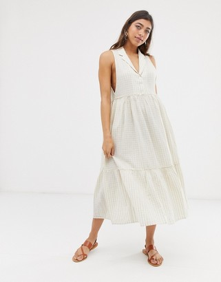 Free People Saffron stripe midi dress-Beige