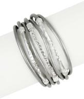 Saachi Grey Genuine Leather Twisted Crystal Bracelet