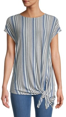 Max Studio Short-Sleeve Self-Tie Tee