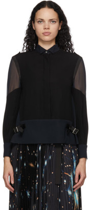 Sacai Black and Navy Satin Blouse