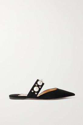 Jimmy Choo Basette Embellished Suede Point-toe Flats - Black