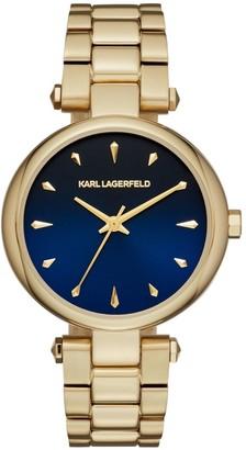 Karl Lagerfeld Paris Aurelie Yellow Goldtone Stainless Steel Three-Hand Bracelet Watch