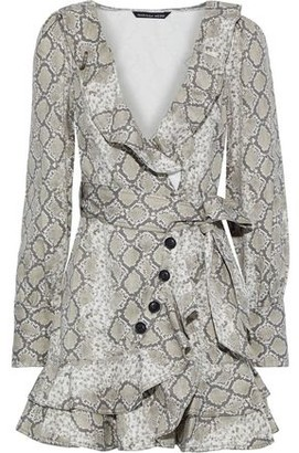Marissa Webb Eli Wrap-effect Snake-print Cotton-canvas Mini Dress