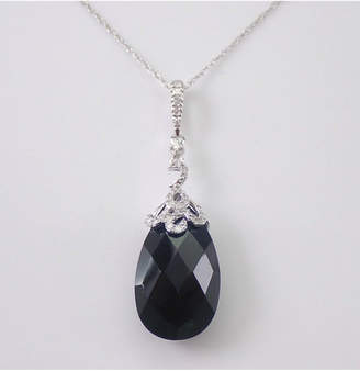 """Margolin & Co Onyx and Diamond Drop Pendant Briolette Necklace 14K Gold 18"""" Chain Black and White Formal"""