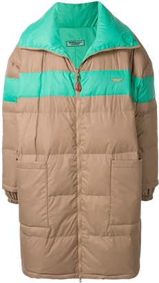 Ground Zero Striped Puffer Mid-Length Coat